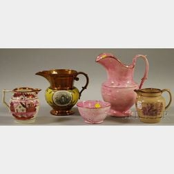 Five Lustre and Transfer-decorated Pottery Items