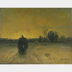François B. de Blois (Canadian/American, 1829-1913)      Hay Wagon at Dusk.