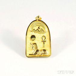 Egyptian 18kt Gold Cartouche-type Pendant