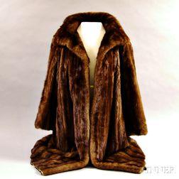 Anne Klein Three-quarter Length Brown Mink Coat