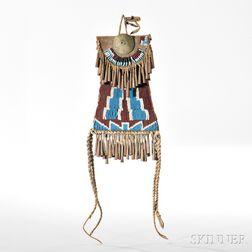 Kiowa Beaded Leather and Hide Strike-a-Light Pouch