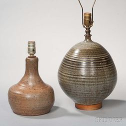 Two Stoneware Pottery Lamps