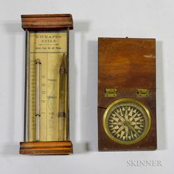 Kickapoo Oil Barometer and a Walnut-cased Compass.     Estimate $150-250