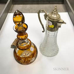 Amber Cut-to-clear Glass Decanter and a Silver-plated and Pressed Glass Pitcher