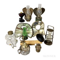 Eight Tin and Glass Oil Lamps