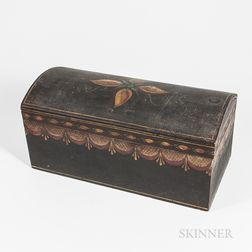 Black-painted and Paint-decorated Dome-top Storage Box