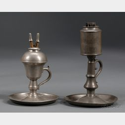 Two Pewter Chamber Lamps