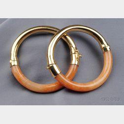 Pair of 14kt Gold and Orange Nephrite Jade Bangles