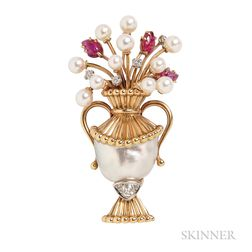 18kt Gold, Baroque Cultured Pearl, and Carved Ruby Brooch