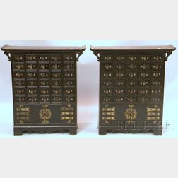 Pair of Chinese Wooden Thirty-drawer Apothecary/Herb Chests