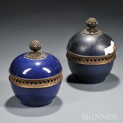 Two Blue-glazed Covered Jars with Gilt-metal Finials
