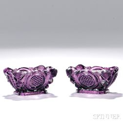 Pair of Medium Amethyst Pressed Glass Open Salts