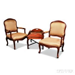 Pair of Louis XV-style Upholstered Fauteuil and a Georgian-style Mahogany Butler's Tray Table.     Estimate $60-80