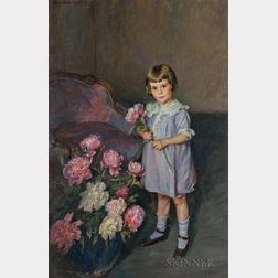 Lydia Field Emmet (American, 1866-1952)      Portrait of a Child Arranging Peonies