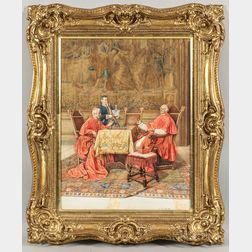 Enrico Tarenghi (Italian, 1848-1938)      The Winning Move, Cardinals Playing Chess