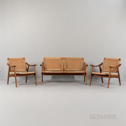 Wegner-style Corded Settee and Two Armchairs
