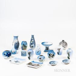 Eighteen Royal Copenhagen and Bing & Grondahl Porcelain Vases and Trays