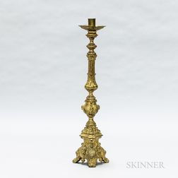 Tall Mexican Baroque-style Brass Candlestick