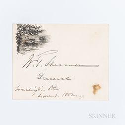 Sherman, William Tecumseh (1820-1891) Signed Card, Washington, DC, 5 September 1882.
