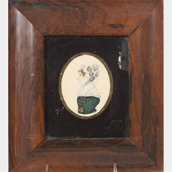 American School, 19th Century      Miniature Portrait of a Lady.