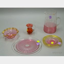 Five Pieces of Threaded Cranberry Glass Tableware