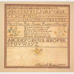 """Framed 1827 """"Sally Maria Hull's"""" Needlework Sampler"""