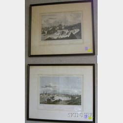 Two Framed 19th Century French Lithographs Depicting Rhode Island Scenes