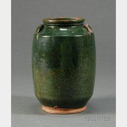 Large Green-glazed Redware Jar