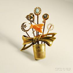 14kt Gold, Coral, Pearl, and Gemstone Brooch
