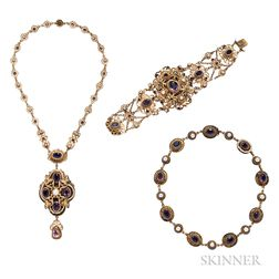 Suite of Renaissance Revival Gilt-silver Jewelry