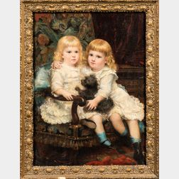 Anglo/American School, Early 20th Century      Portrait of Two Sisters in White with a Small Dog