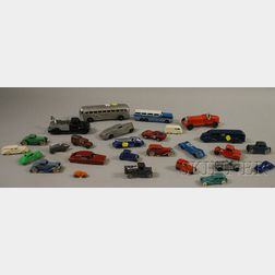 Twenty-seven TootsieToy, Manoil, and Solido Painted Metal Toy Vehicles