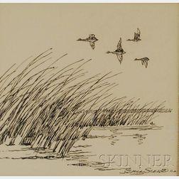 Eric (E. J. Hinrichs) Sloane  (American, 1905-1985)      A Skein of Ducks in Flight Over a Marsh.