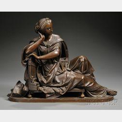 Albert Ernest Carrier-Belleuse (France, 1827-1887)      Bronze of a Classical Muse