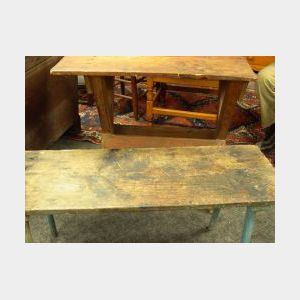 Country Pine Sawbuck Table and a Blue Painted Pine Splayed Leg Bench.
