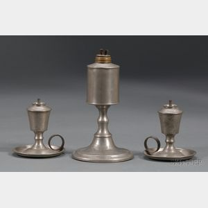 Three Whale Oil Pewter Lamps
