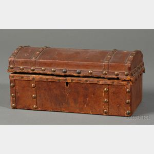 Small Hide-covered Dome-top Trunk Lined with Rhode Island Five Dollar Notes