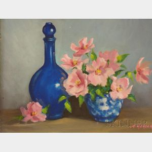 Framed Oil on Board Still Life with Flowers and Bottle by Theresa Wonson