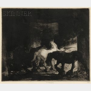 Edmund Blampied (British, 1886-1966)      Night in the Stable
