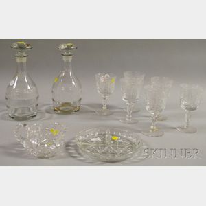 Ten Colorless Glass Table Items