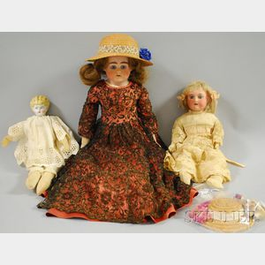 One China and Two Bisque Shoulder Head Dolls