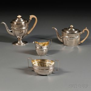 Assembled Four-piece George III Silver Tea and Coffee Service