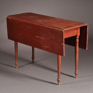 Red-painted Pine and Maple Drop-leaf Table