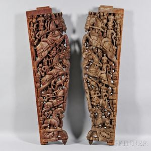 Pair of Carved Wood Doorframe Brackets