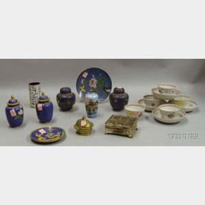 Approximately Fourteen Pieces of Cloisonne and Chinese Export Porcelain