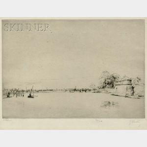 Gustave Leheutre (French, 1861-1932)      Le pont de Bonnemort à La Rochelle (1re planche)