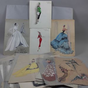 Large Group of Watercolor Fashion Sketches