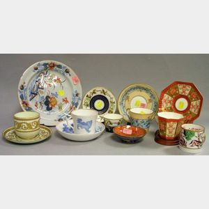 Eleven Assorted Wedgwood Decorated Porcelain Cups and Saucers, a Plate, and Small Lustre Ware Footed Dish.