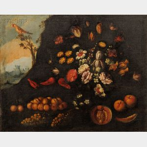 Dutch School, 17th Century Style      Grotto with an Ornate Still Life of Flowers and Fruit