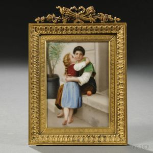 Framed Continental Porcelain Portrait Plaque